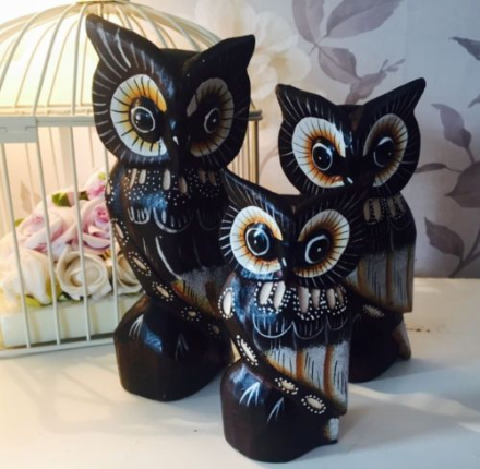Carved Hand Painted Wooden Owls ~ Set B